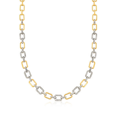 1.00 ct. t.w. Diamond-Link Necklace in 18kt Gold Over Sterling