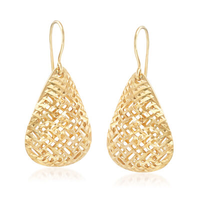 14kt Yellow Gold Filigree Teardrop Drop Earrings , , default