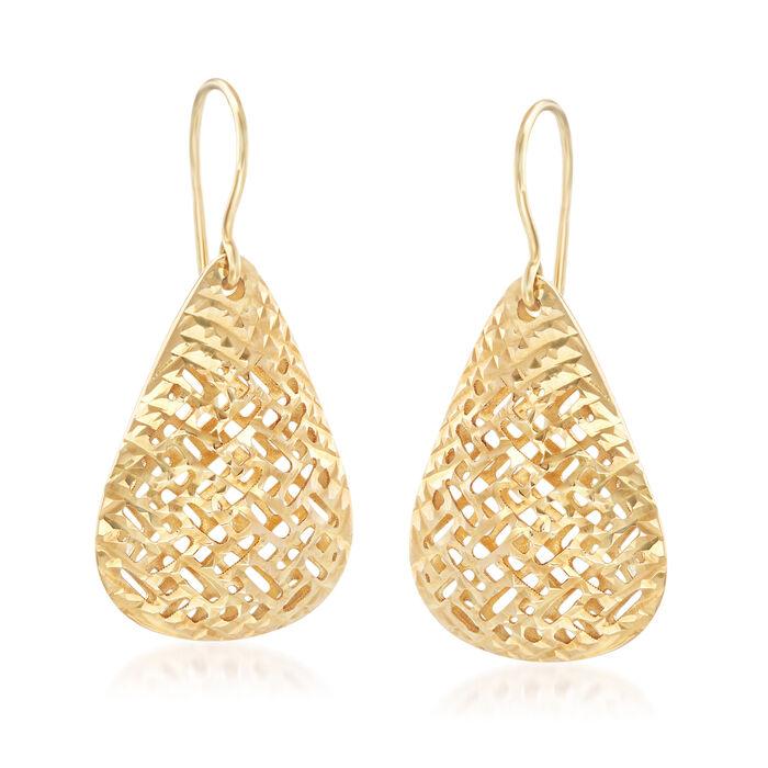 14kt Yellow Gold Filigree Teardrop Drop Earrings, , default