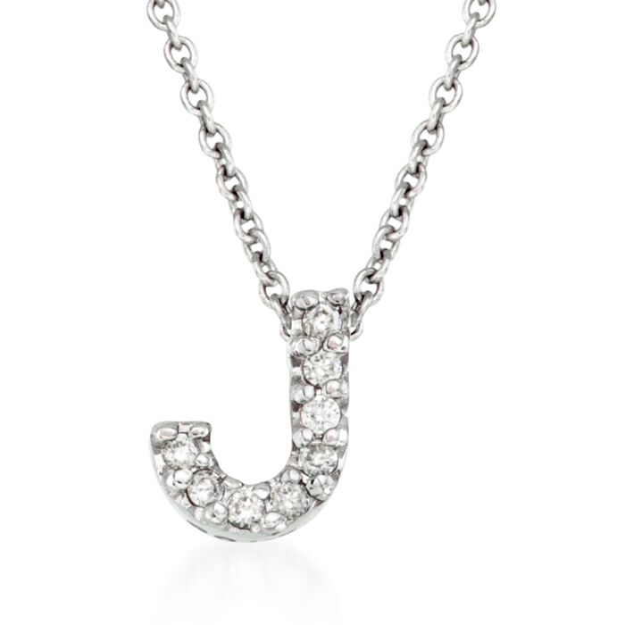 "Roberto Coin ""Love Letter"" Diamond Accent Initial ""J"" Necklace in 18kt White Gold. 16"", , default"