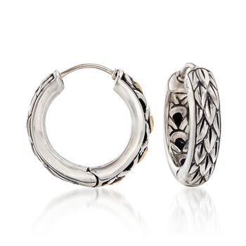 """Phillip Gavriel """"Dragonfly"""" Sterling Silver and 18kt Gold Small Hoop Earrings. 5/8"""", , default"""