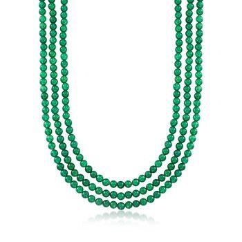 "6mm Green Onyx Bead Endless Necklace. 80"", , default"