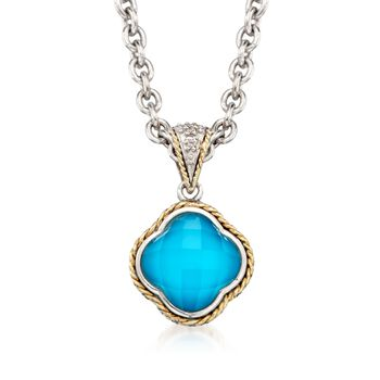 """Andrea Candela Turquoise Necklace With Diamond Accents in Two-Tone. 16"""", , default"""