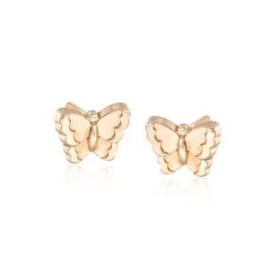 Child's 14kt Yellow Gold Butterfly Earrings, , default