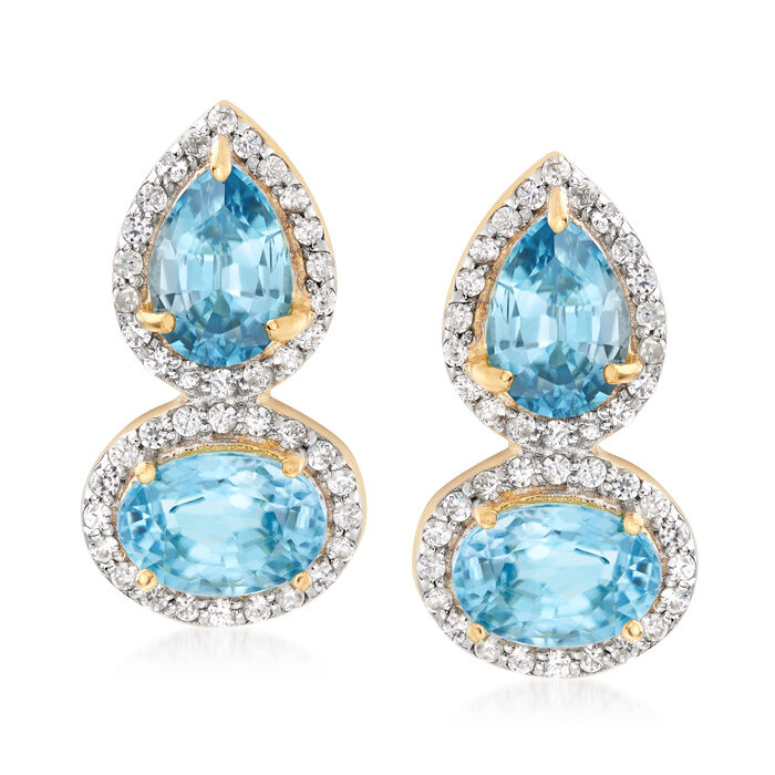 4.40 ct. t.w. Blue and White Zircon Drop Earrings in 18kt Gold Over Sterling, , default
