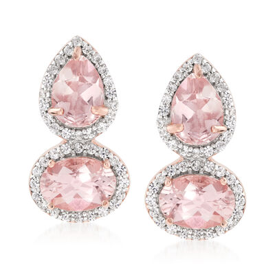 2.80 ct. t.w. Morganite and .30 ct. t.w. White Zircon Drop Earrings in 18kt Rose Gold Over Sterling , , default