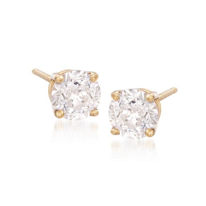 3.00 ct. t.w. CZ Stud Earrings in 18kt Yellow Gold, , default