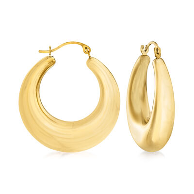 Andiamo 14kt Yellow Gold Graduated Hoop Earrings