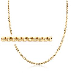 "3.5mm 14kt Yellow Gold Box Chain Necklace. 24"", , default"