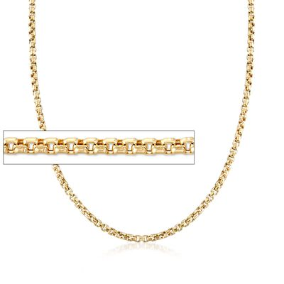 3.5mm 14kt Yellow Gold Box Chain Necklace, , default