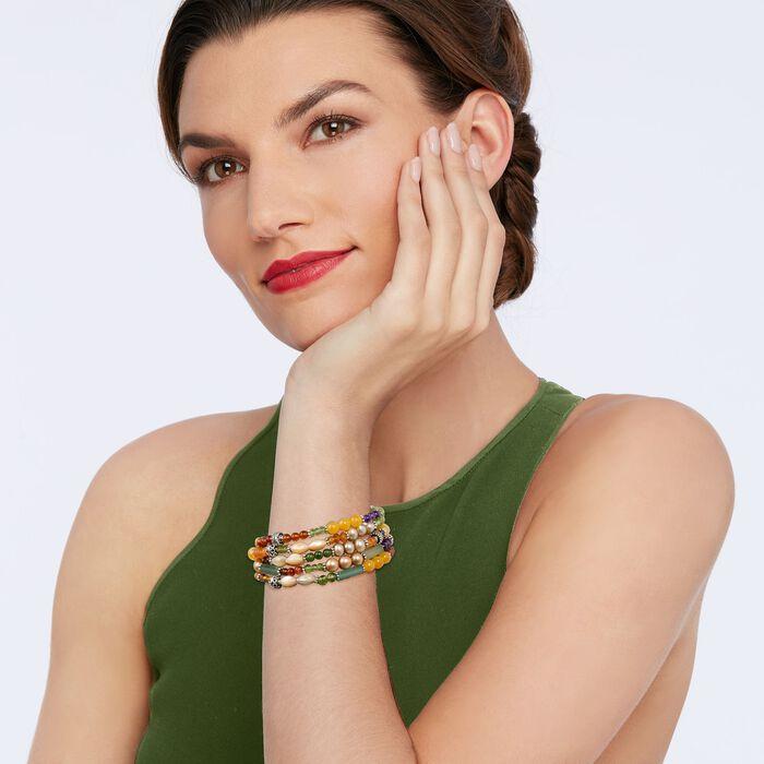 Set of Five Multi-Stone and Sterling Silver Bali Bead Stretch Bracelets
