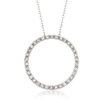 ".48 ct. t.w. Diamond Open Circle Necklace in 14kt White Gold. 18"", , default"