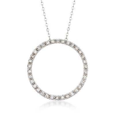 .48 ct. t.w. Diamond Open Circle Necklace in 14kt White Gold, , default