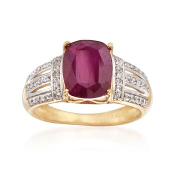 Ruby and .20 ct. t.w. White Topaz Ring in 14kt Gold Over Sterling, , default