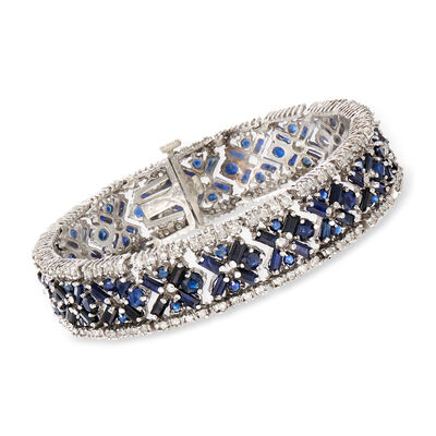C. 1980 Vintage 12.50 ct. t.w. Sapphire and 3.00 ct. t.w. Diamond X Bracelet in 14kt White Gold, , default