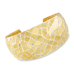 Italian Diamond Cut Multi-Faceted Cuff Bracelet in 18kt Yellow Gold Over Sterling Silver, , default