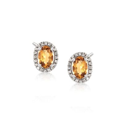 .90 ct. t.w. Citrine and .12 ct. t.w. Diamond Earrings in 14kt White Gold, , default