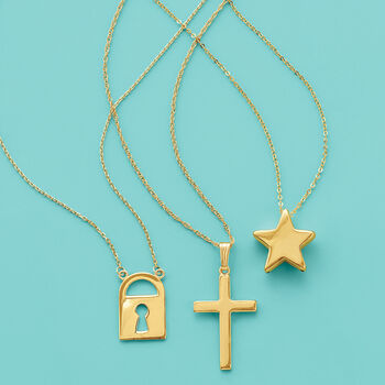 14kt Yellow Gold Cross Necklace, , default