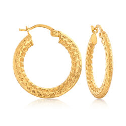 22kt Yellow Gold Textured and Polished Hoop Earrings, , default
