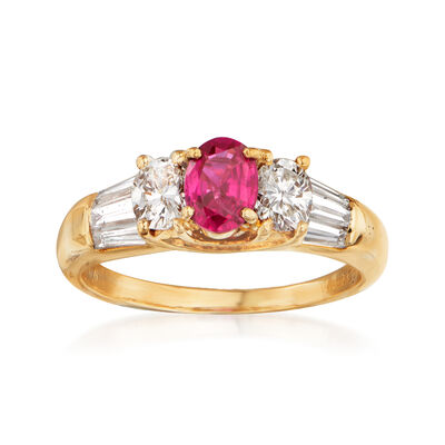 C. 1980 Vintage .63 Carat Ruby and 1.02 ct. t.w. Diamond Ring in 18kt Yellow Gold