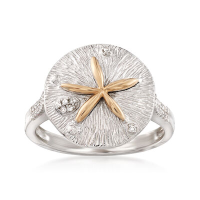 Sterling Silver and 14kt Yellow Gold Sand Dollar Ring with .10 ct. t.w. Diamonds, , default