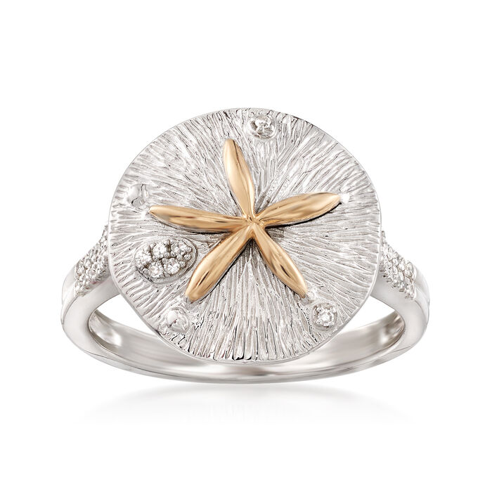 .10 ct. t.w. Diamond Sand Dollar Ring in Sterling Silver with 14kt Yellow Gold