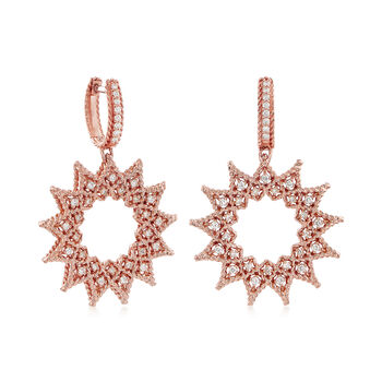 "Roberto Coin ""Barocco"" Diamond Starburst Drop Earrings in 18kt Rose Gold , , default"