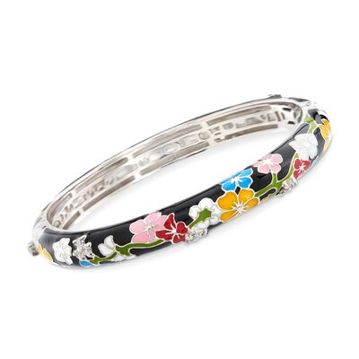 "Belle Etoile ""Constellations: Sakura"" Multicolored Enamel and .50 ct. t.w. CZ Bangle Bracelet in Sterling Silver, , default"