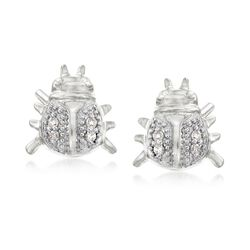 Diamond-Accented Ladybug Earrings in Sterling Silver, , default