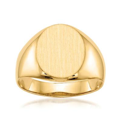 Men's 14kt Yellow Gold Signet Ring, , default