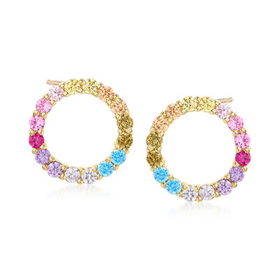 .85 ct. t.w. Multicolored CZ Open-Space Circle Stud Earrings in 18kt Gold Over Sterling, , default