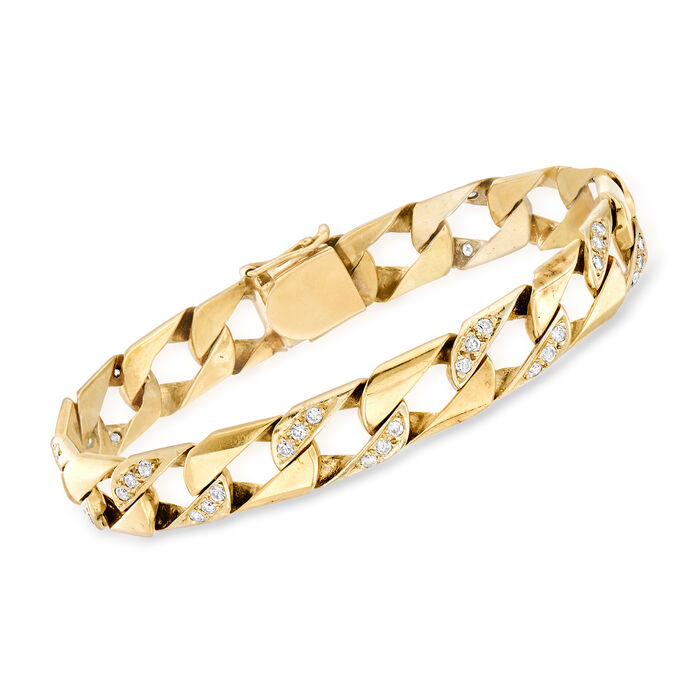 """C. 1980 Vintage 1.50 ct. t.w. Diamond Curb-Link Bracelet in 14kt Yellow Gold. 7.75"""""""