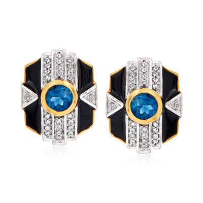 1.30 ct. t.w. London Blue Topaz and .23 ct. t.w. White Topaz Earrings with Black Enamel in 18kt Gold Over Sterling