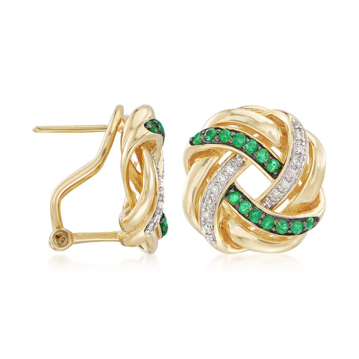 .40 ct. t.w. Emerald and .10 ct. t.w. Diamond Love Knot Earrings in 18kt Gold Over Sterling
