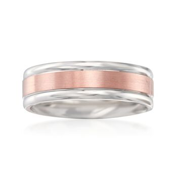 Men's 7mm 14kt White and Rose Gold Wedding Ring, , default