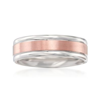 Men's 7mm 14kt White and Rose Gold Wedding Ring, , default