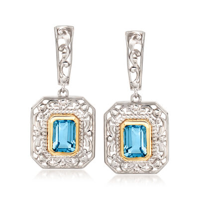 3.00 ct. t.w. Sky Blue Topaz Drop Earrings in Sterling Silver with 14kt Yellow Gold