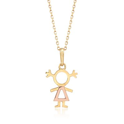 18kt Two-Tone Gold Girl Pendant Necklace, , default