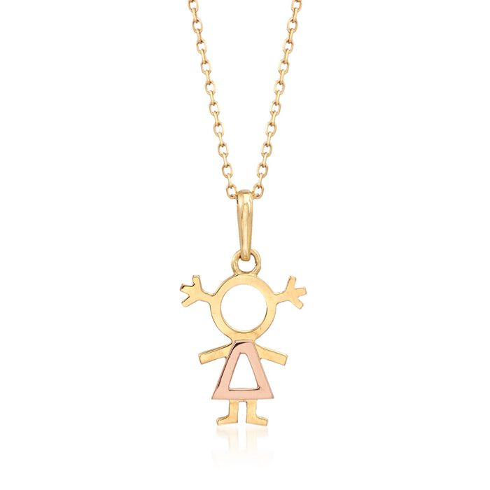 """18kt Two-Tone Gold Girl Pendant Necklace. 18"""""""