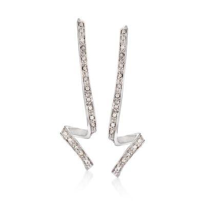 .27 ct. t.w. Diamond Ribbon Earrings in Sterling Silver, , default