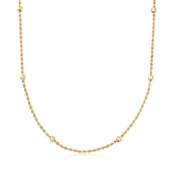14kt Yellow Gold Rope Chain and Bead Station Necklace, , default