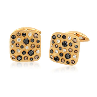 1.45 ct. t.w. Black, Brown and White Diamond Cuff Links in 14kt Yellow Gold