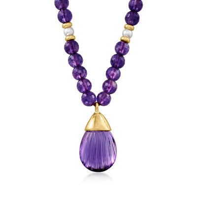 C. 1980 Vintage 4mm Cultured Pearl and 17.00 Carat Amethyst Station Necklace in 18kt Yellow Gold