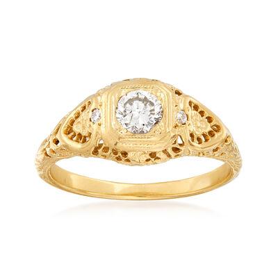 C. 1960 Vintage .35 Carat Diamond Filigree Ring in 14kt Yellow Gold, , default