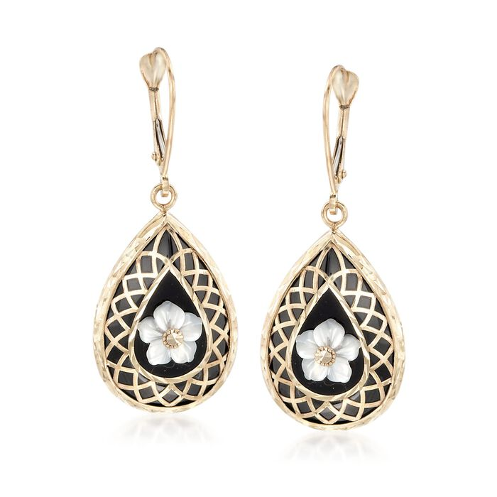 Black Onyx and Mother-Of-Pearl Flower Overlay Drop Earrings in 14kt Yellow Gold