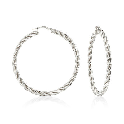 Italian Sterling Silver Large Twisted Hoop Earrings, , default