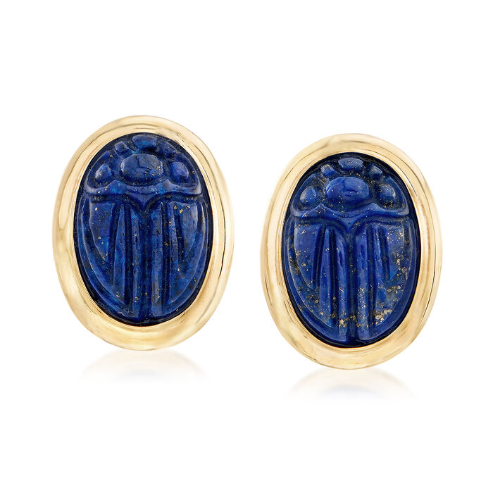 10x14mm Lapis Scarab Earrings in 14kt Yellow Gold, , default