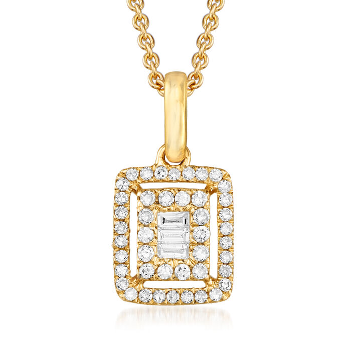 .22 ct. t.w. Round and Baguette Diamond Frame Pendant Necklace in 18kt Yellow Gold