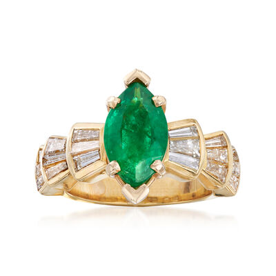 C. 1980 Vintage 1.50 Carat Emerald and 1.50 ct. t.w. Diamond Ring in 18kt Yellow Gold, , default