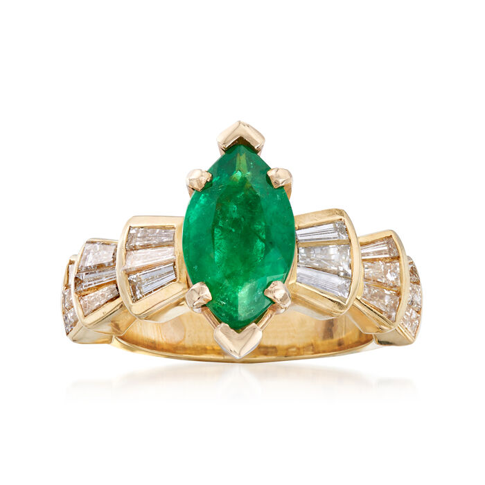 C. 1980 Vintage 1.50 Carat Emerald and 1.50 ct. t.w. Diamond Ring in 18kt Yellow Gold. Size 6.5, , default